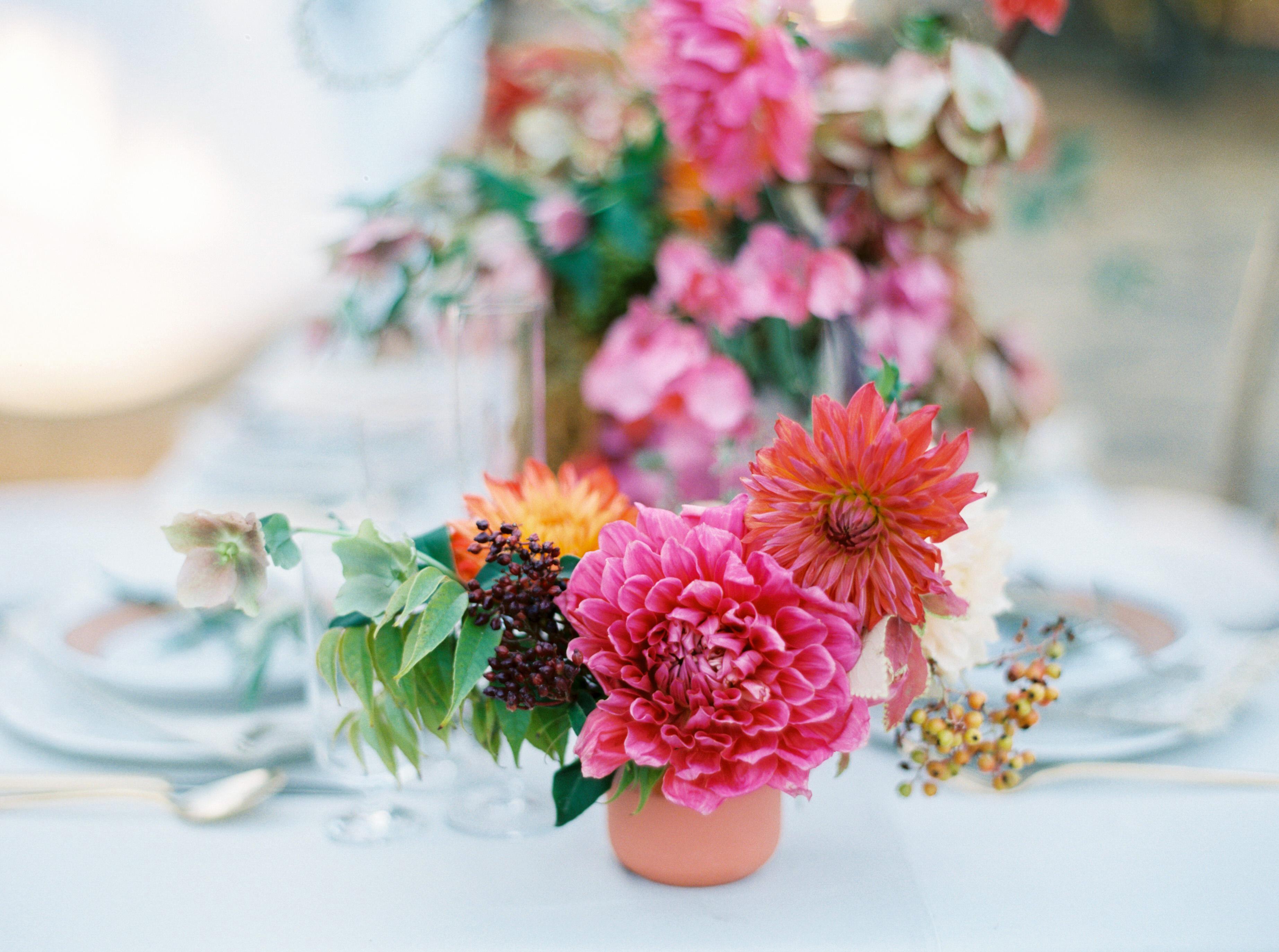dahlia wedding centerpieces small pink arrangement