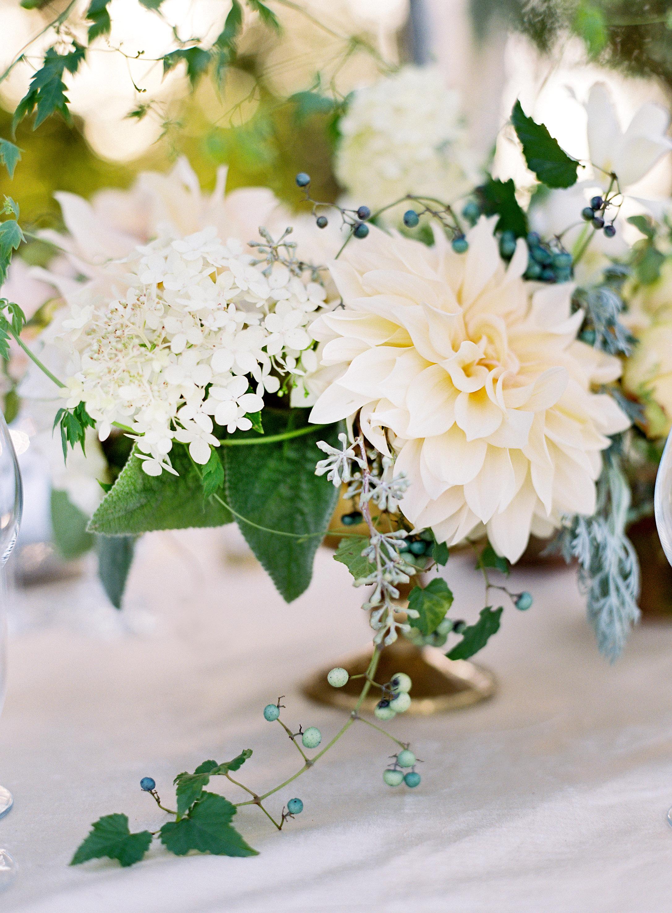 dahlia wedding centerpieces white flowers and greenery