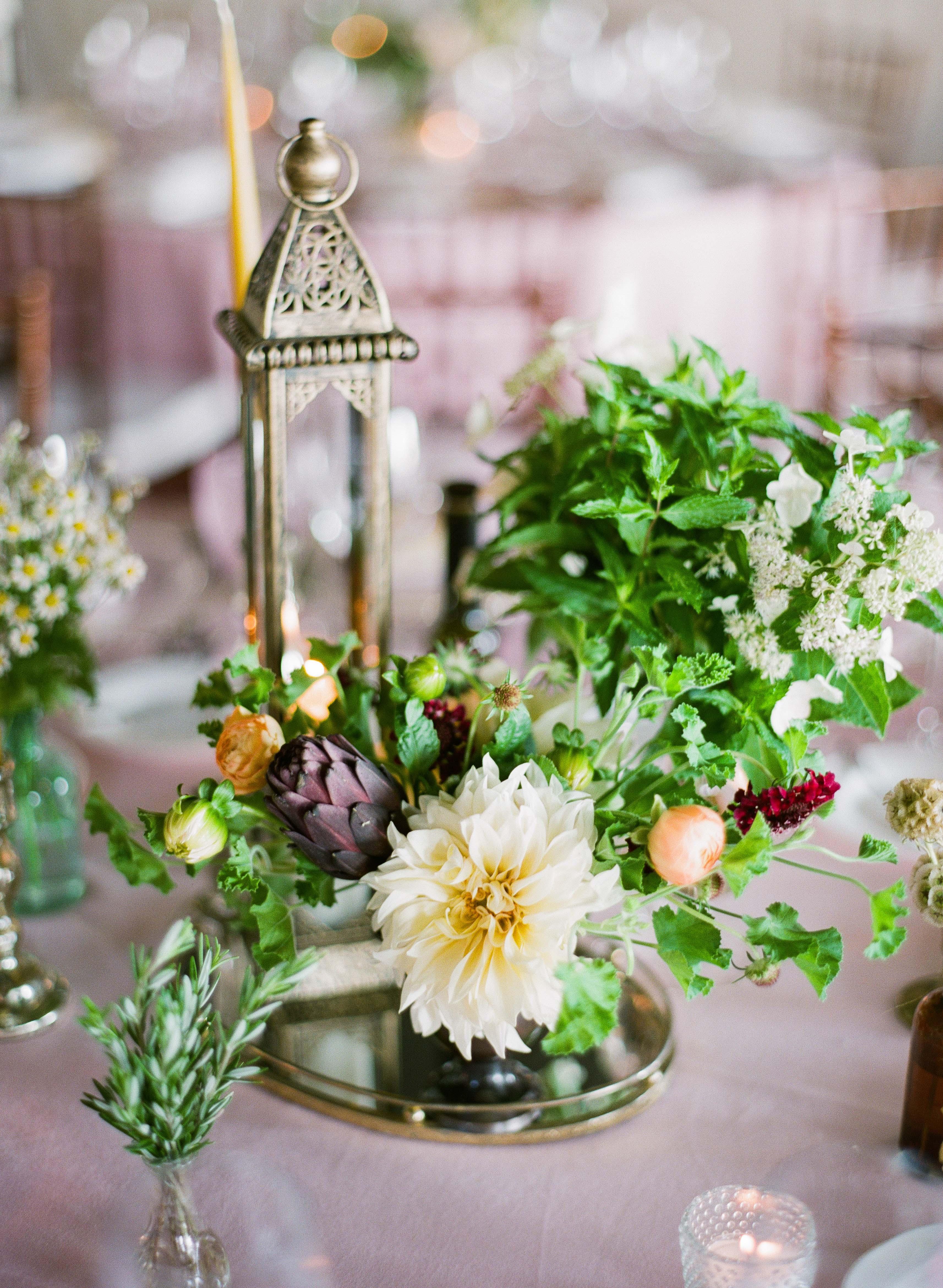 dahlia wedding centerpieces bushy red and yellow assortment