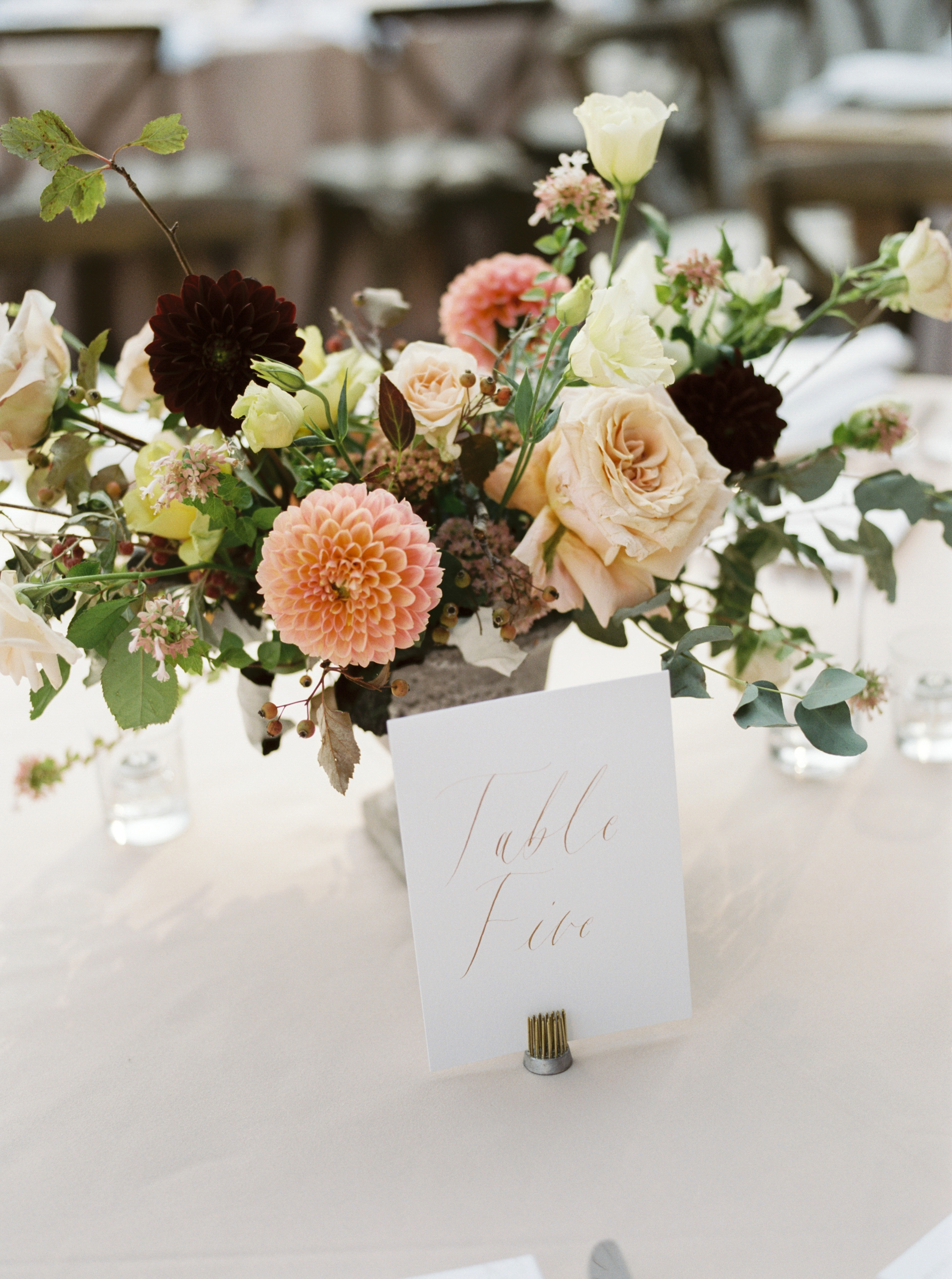 amanda william wedding tennessee centerpiece table number