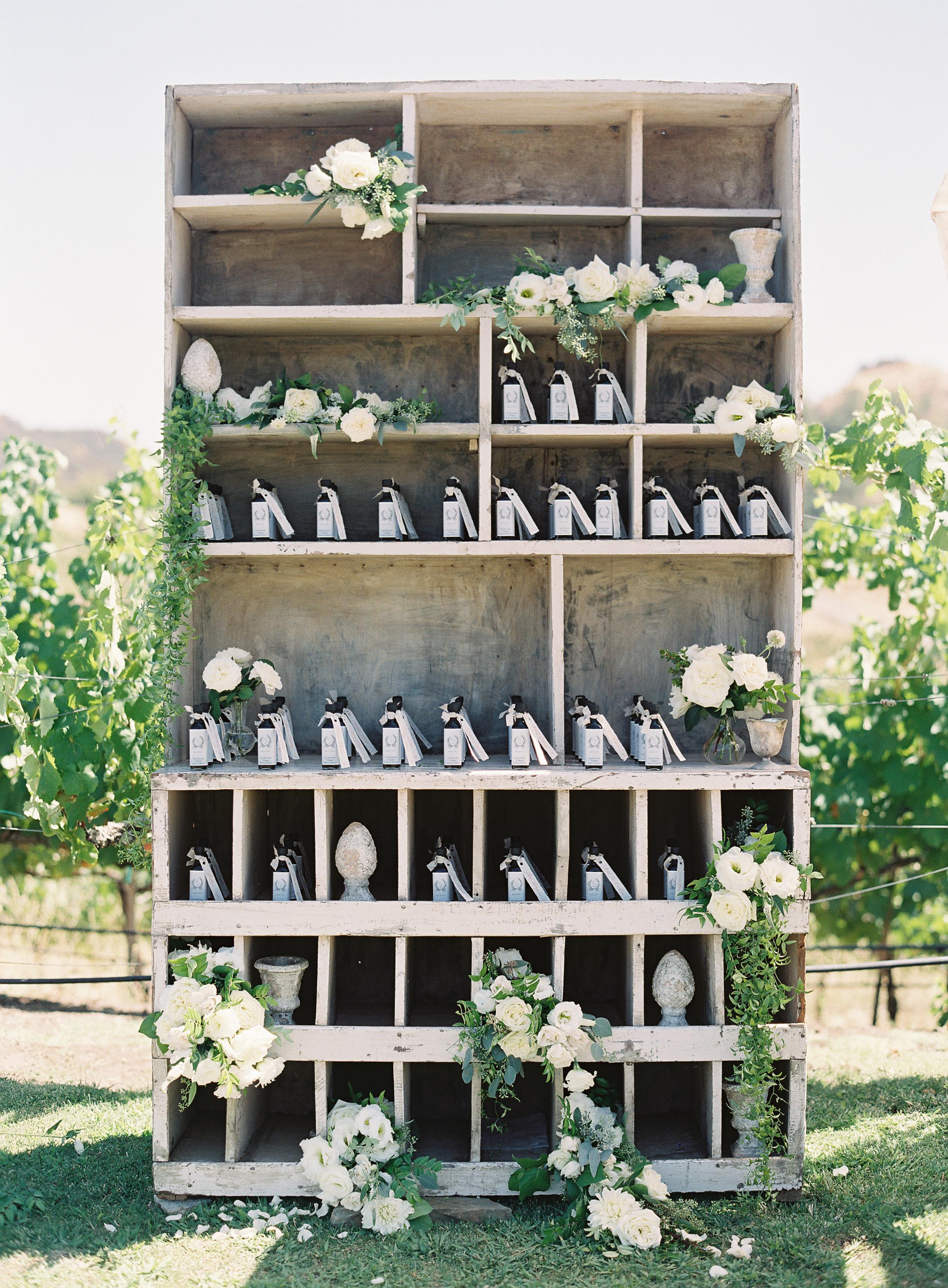 favor display with floral arrangement