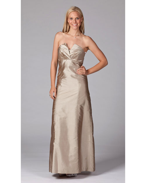 Long Champagne Bridesmaid Dress