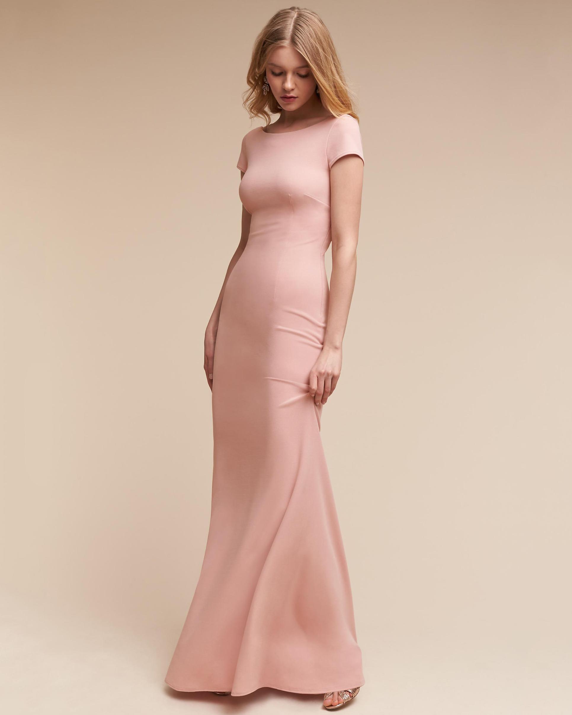 pink sheath bridesmaid dress short sleeve