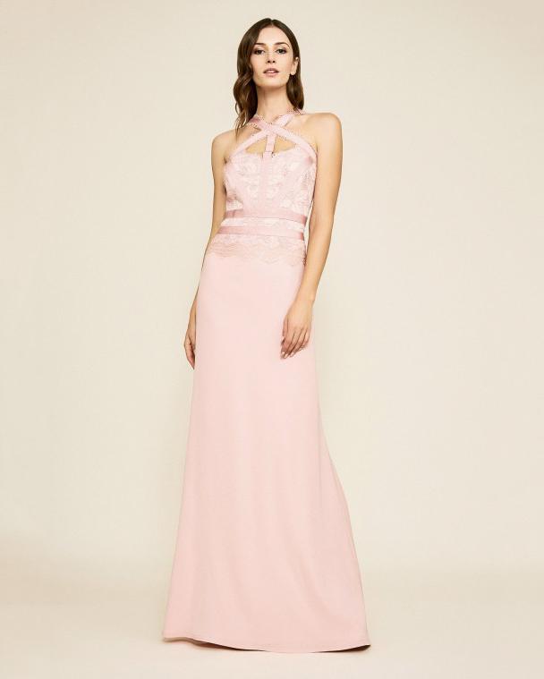pink sheath bridesmaid halter cutout dress