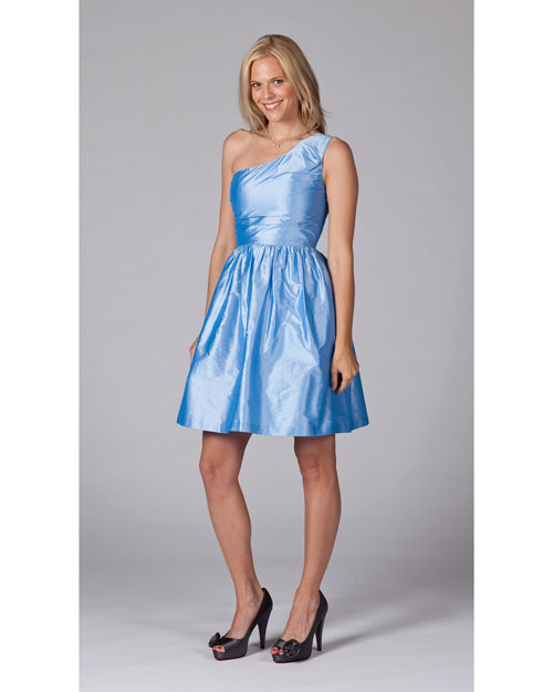 One-Shoulder Blue Bridesmaid Dress