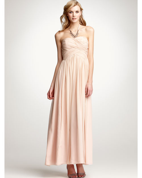 Floor-Length Pink Bridesmaid Dress