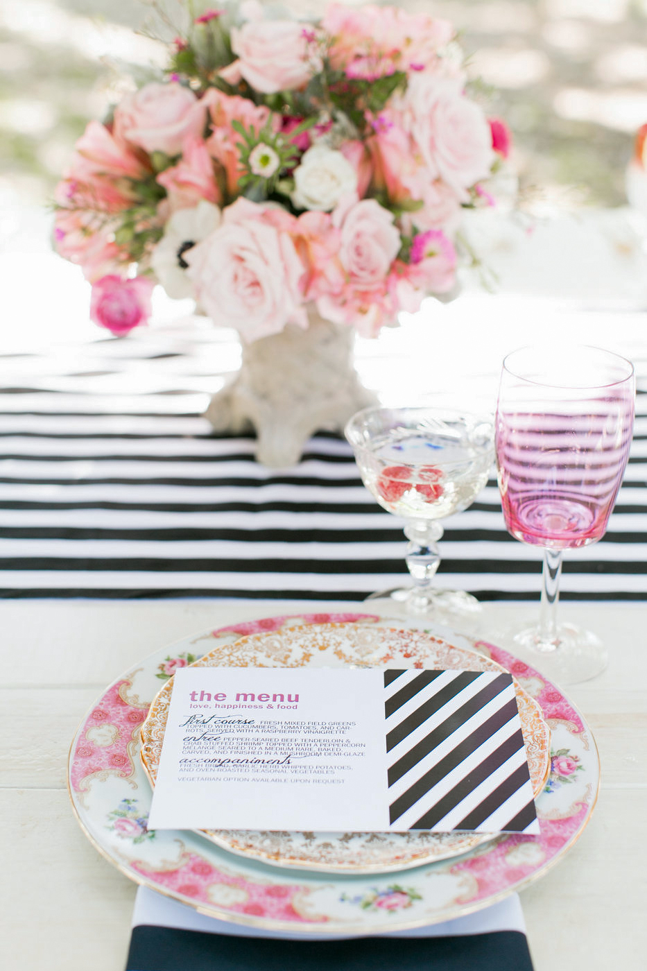 striped menu with matching table setting