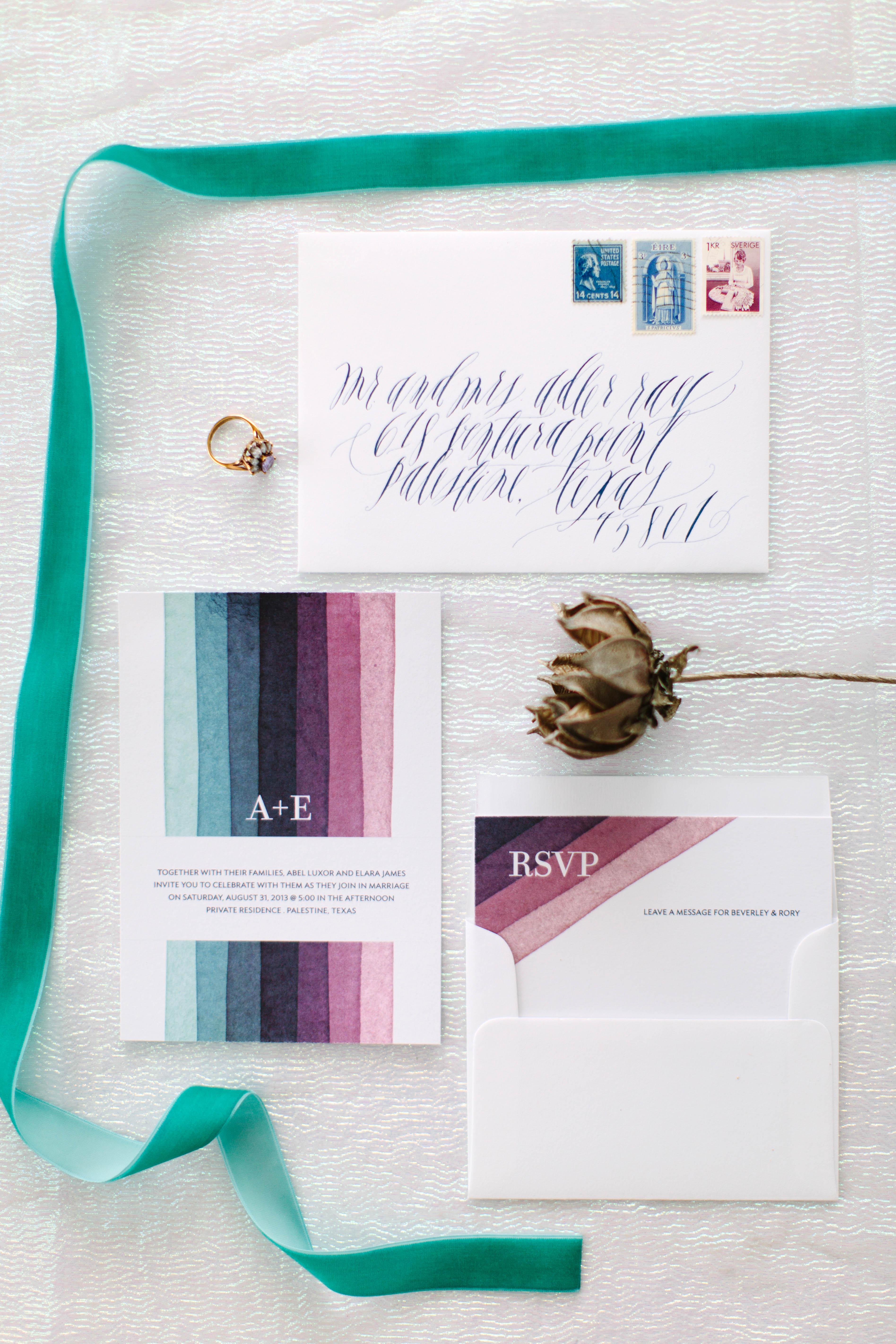 blue and purple striped invitation design set