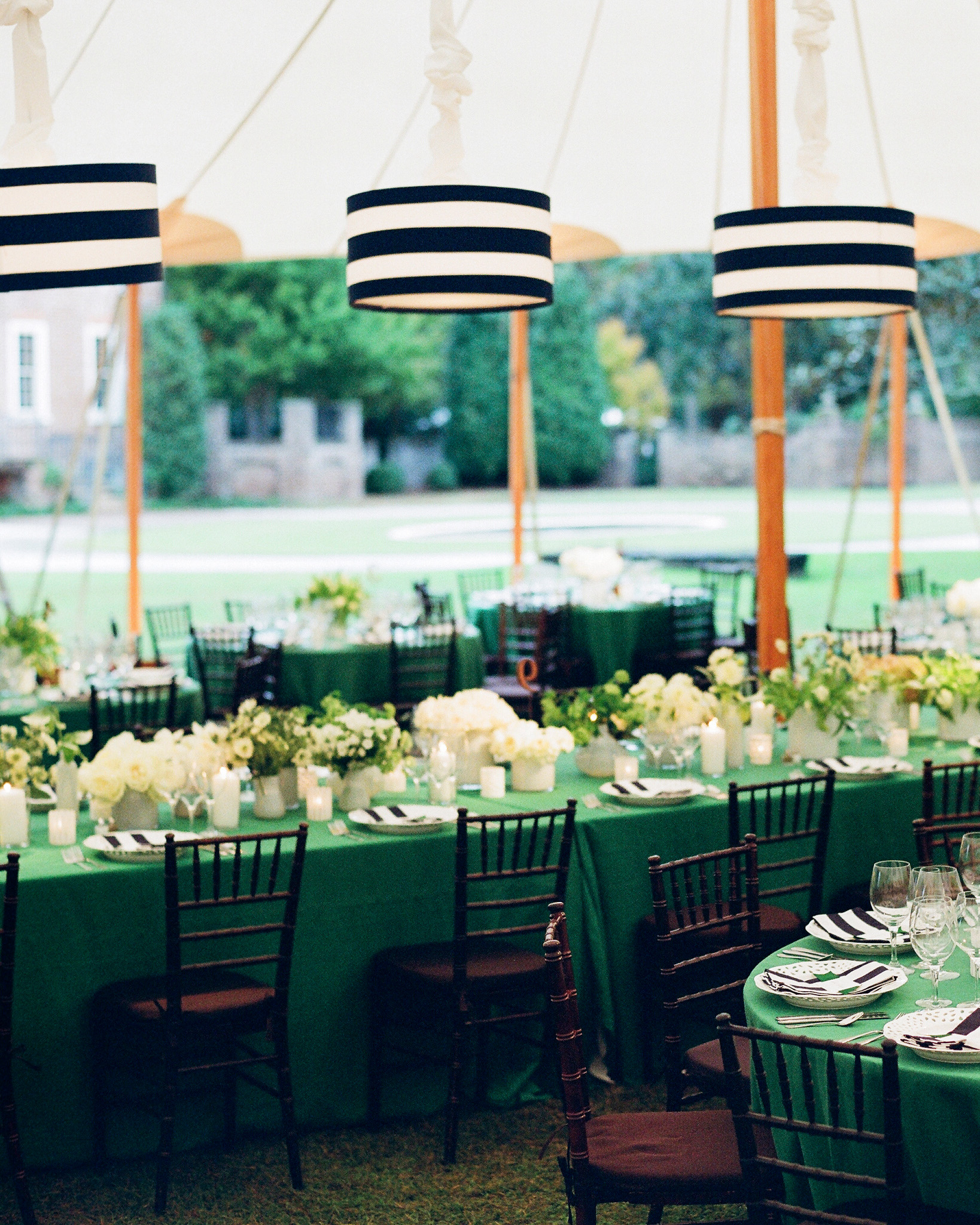 striped napkins and lamp shades over green tables