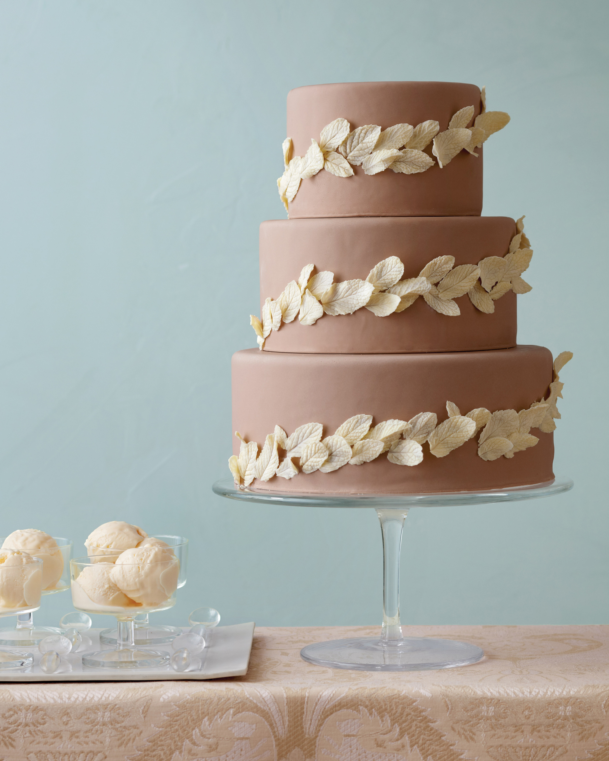 Chocolate Leaf Wedding Cake