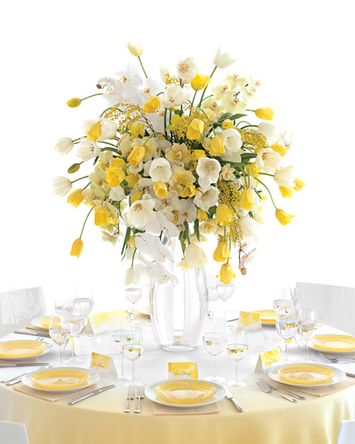 Wedding Centerpiece with a Fountain of Yellow and White Tulips