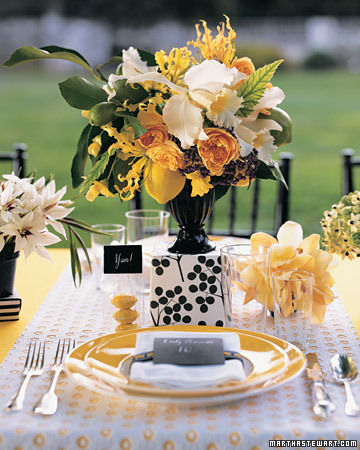 Yellow, Black, and White Wedding Centerpiece
