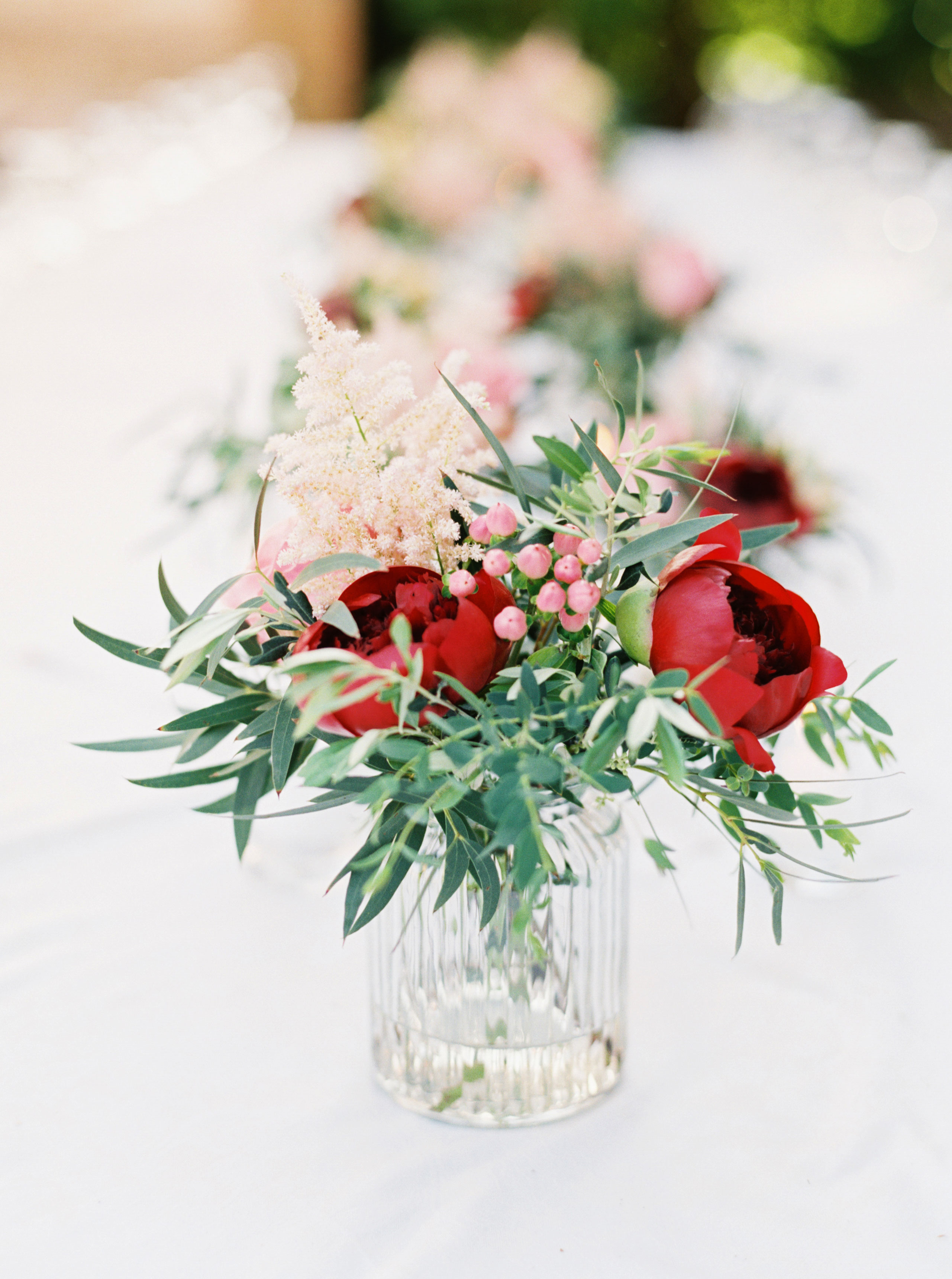 red green floral centerpiece
