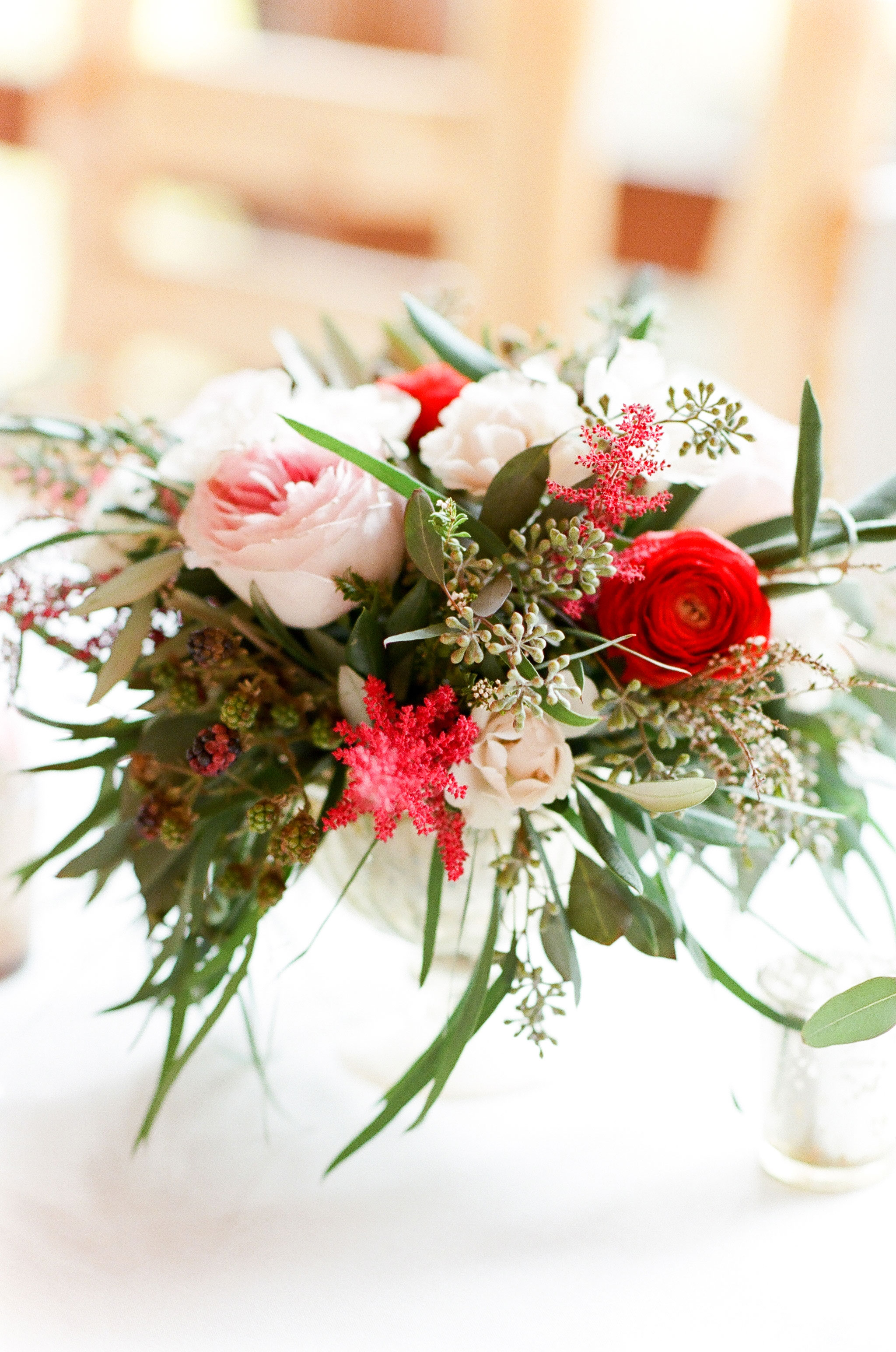 pink red green floral centerpiece