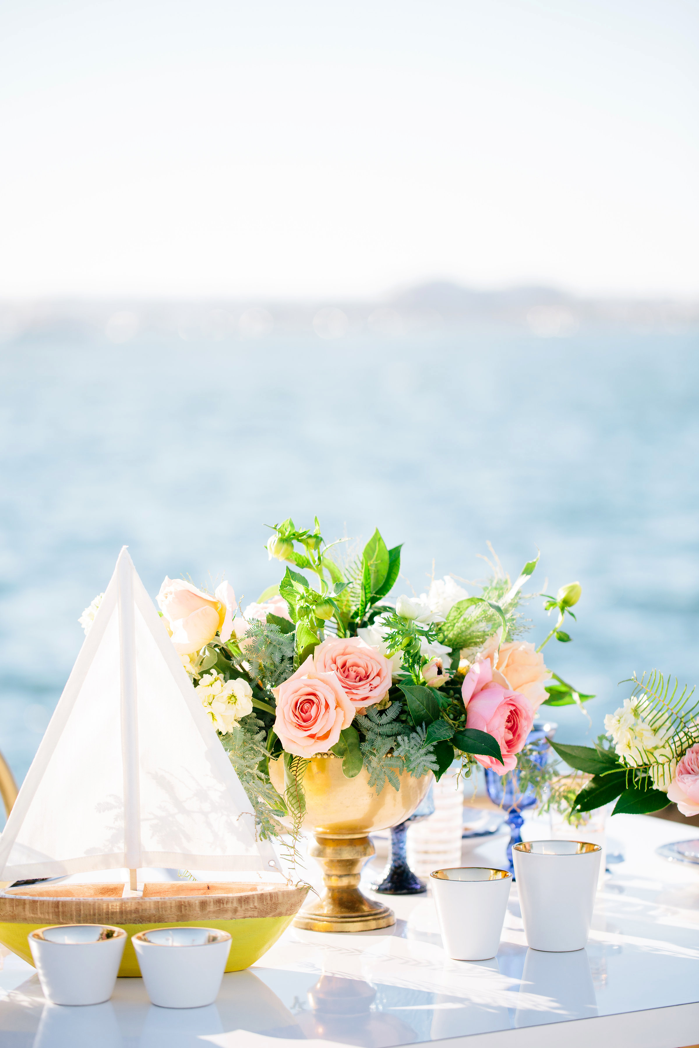 julie anthony real wedding centerpiece flowers sailboat