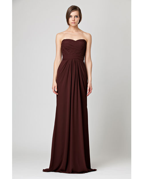 Floor-Length Burgundy Bridesmaid Dress