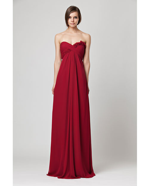 Floor-Length Red Bridesmaid Dress