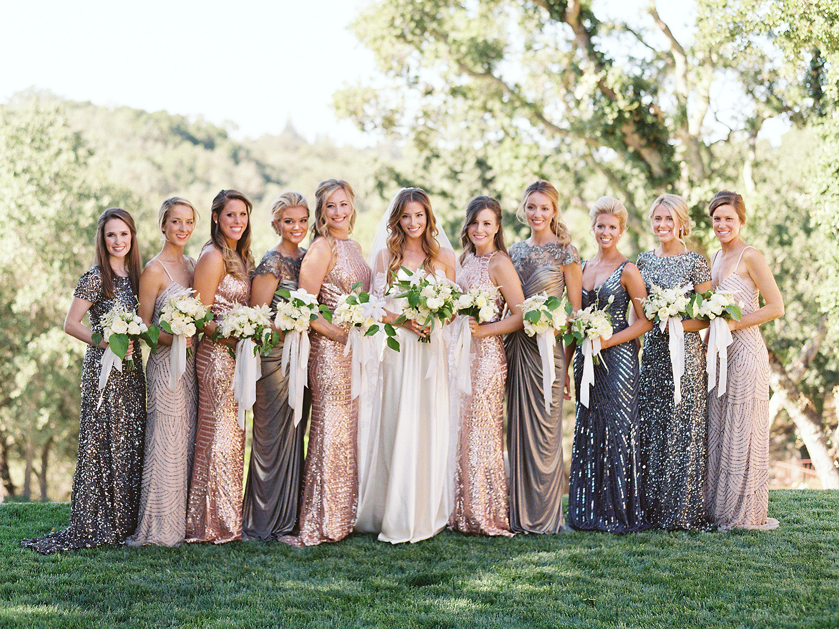 sparkling bridesmaids dresses