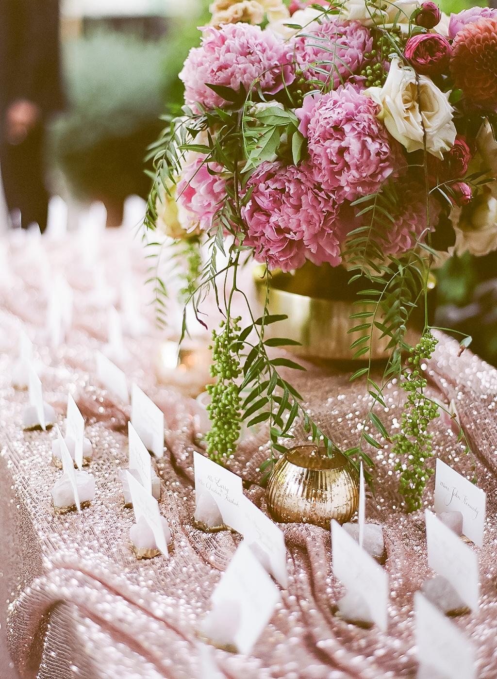 sparkling tablecloth escort card display