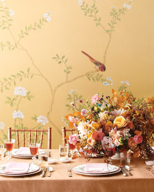 Pink-and-Copper Table Setting