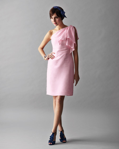 Pink Asymmetrical Dress and Navy Hair Bow