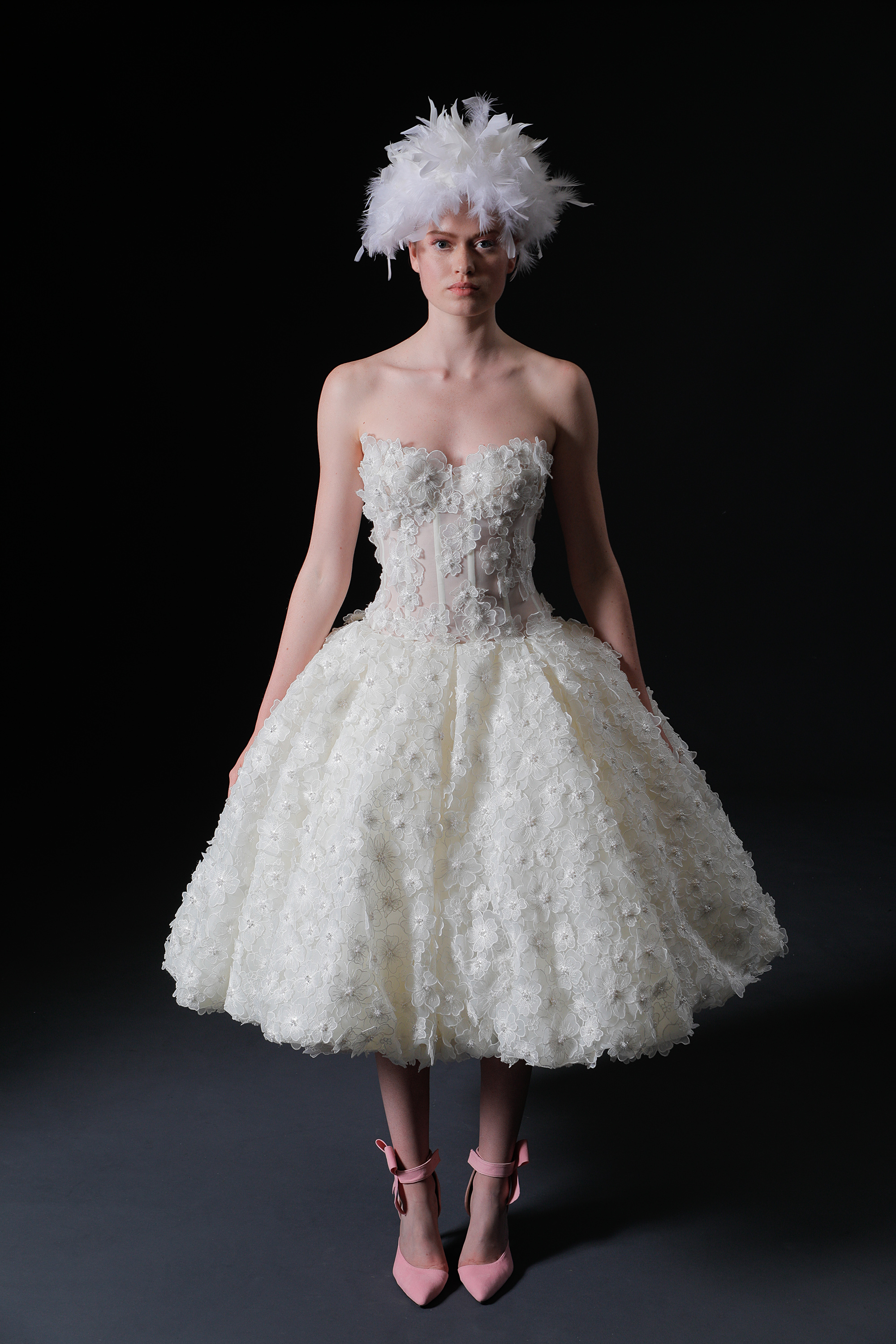 tea length a-line strapless floral applique exposed boning wedding dress Isabelle Armstrong Spring 2020