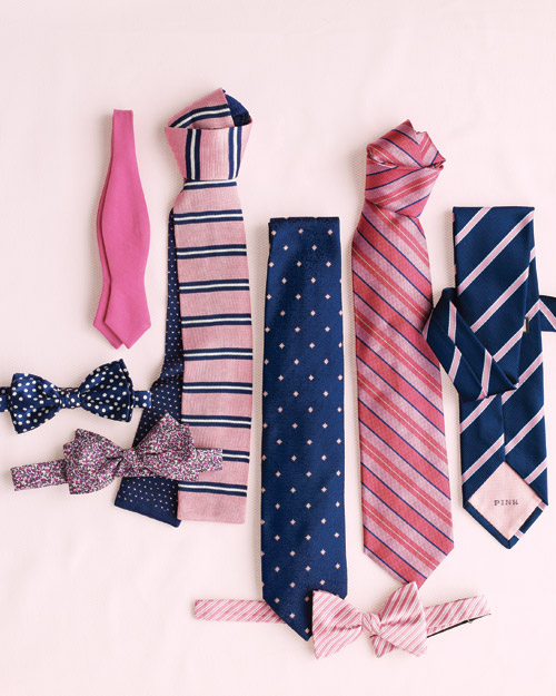 Pink and Navy Ties for Him
