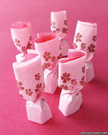Pink-and-Brown Tissue-Paper Wedding Favors