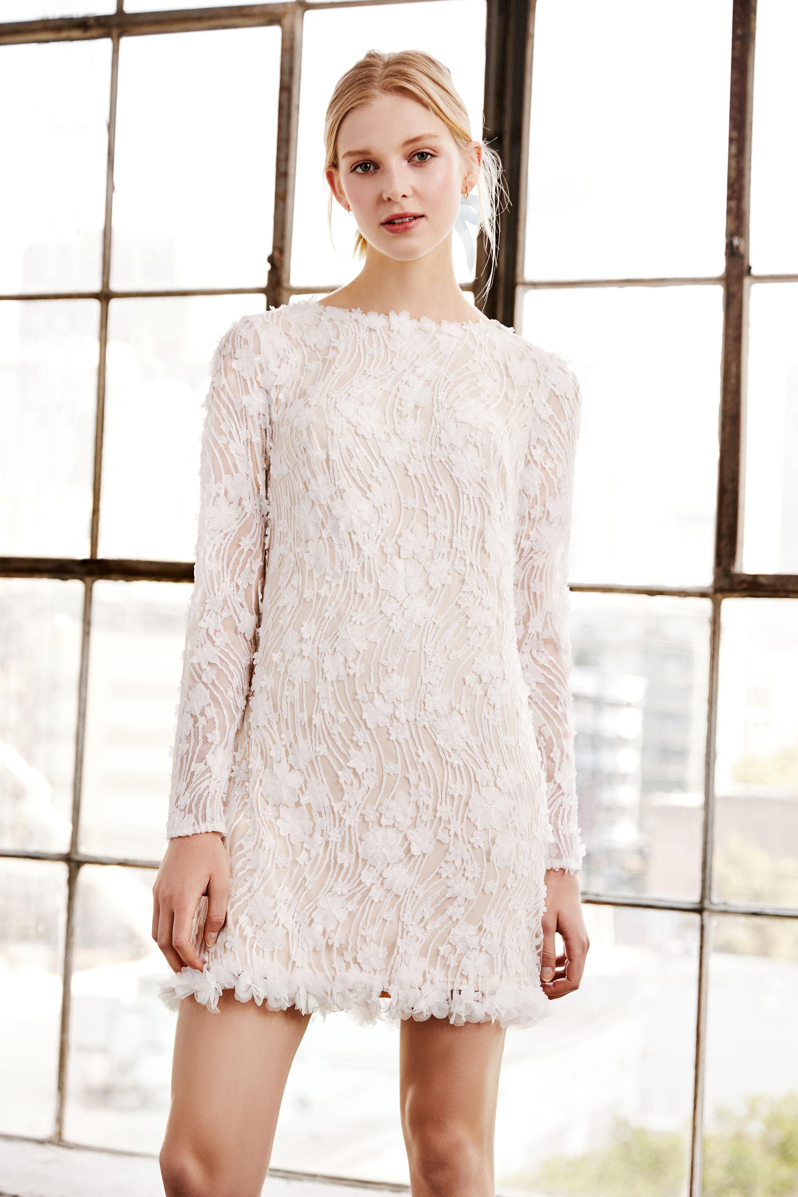 tadashi shoji wedding dress spring 2019 short long sleeves embroidered