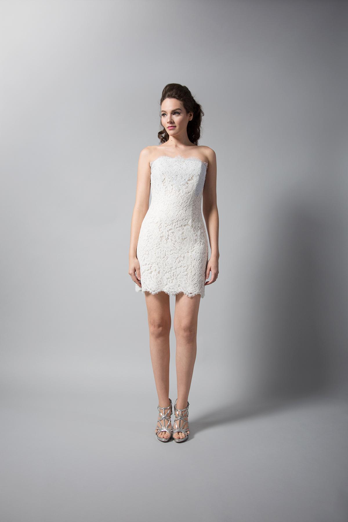 randi rahm short lace strapless wedding dress fall 2018