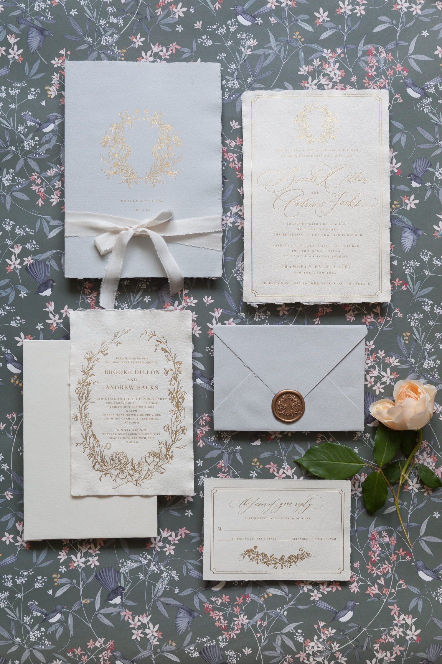 invitation suite with wax seal