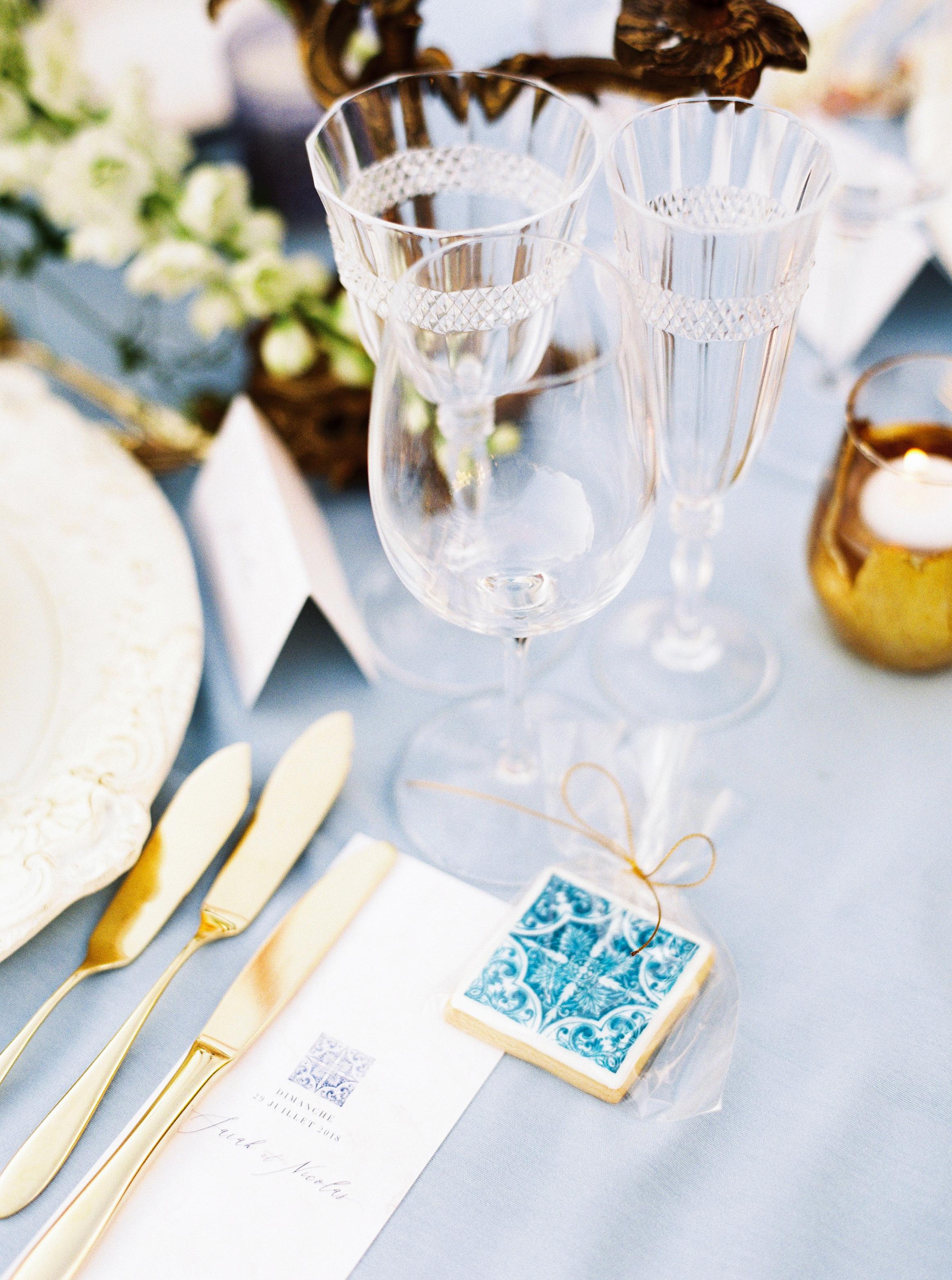 blue tile inspired cookies wedding favors