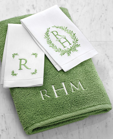 Martha Stewart Embroidery Monogram Bath Towel