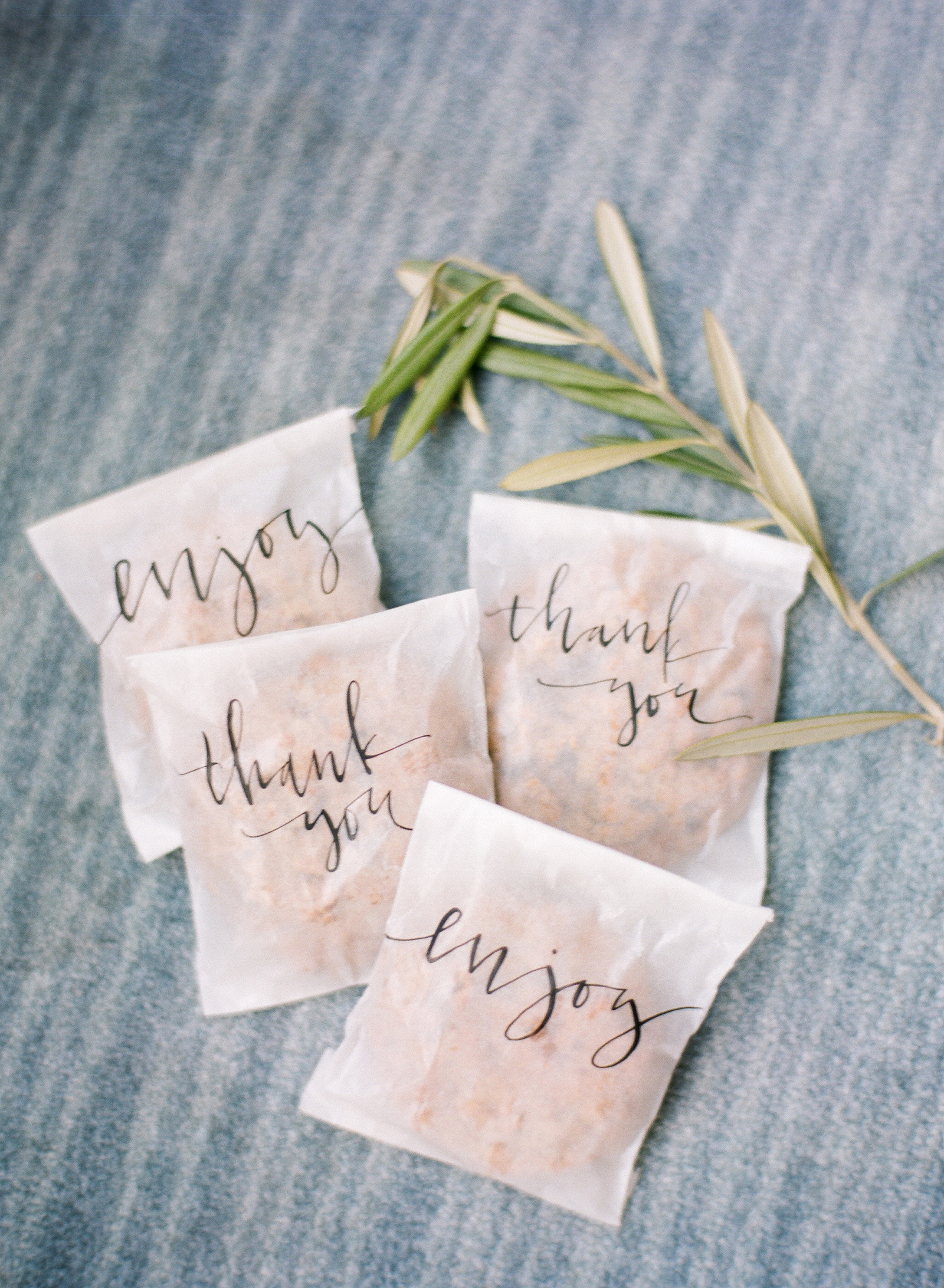 calligraphy accented cookie wedding favors