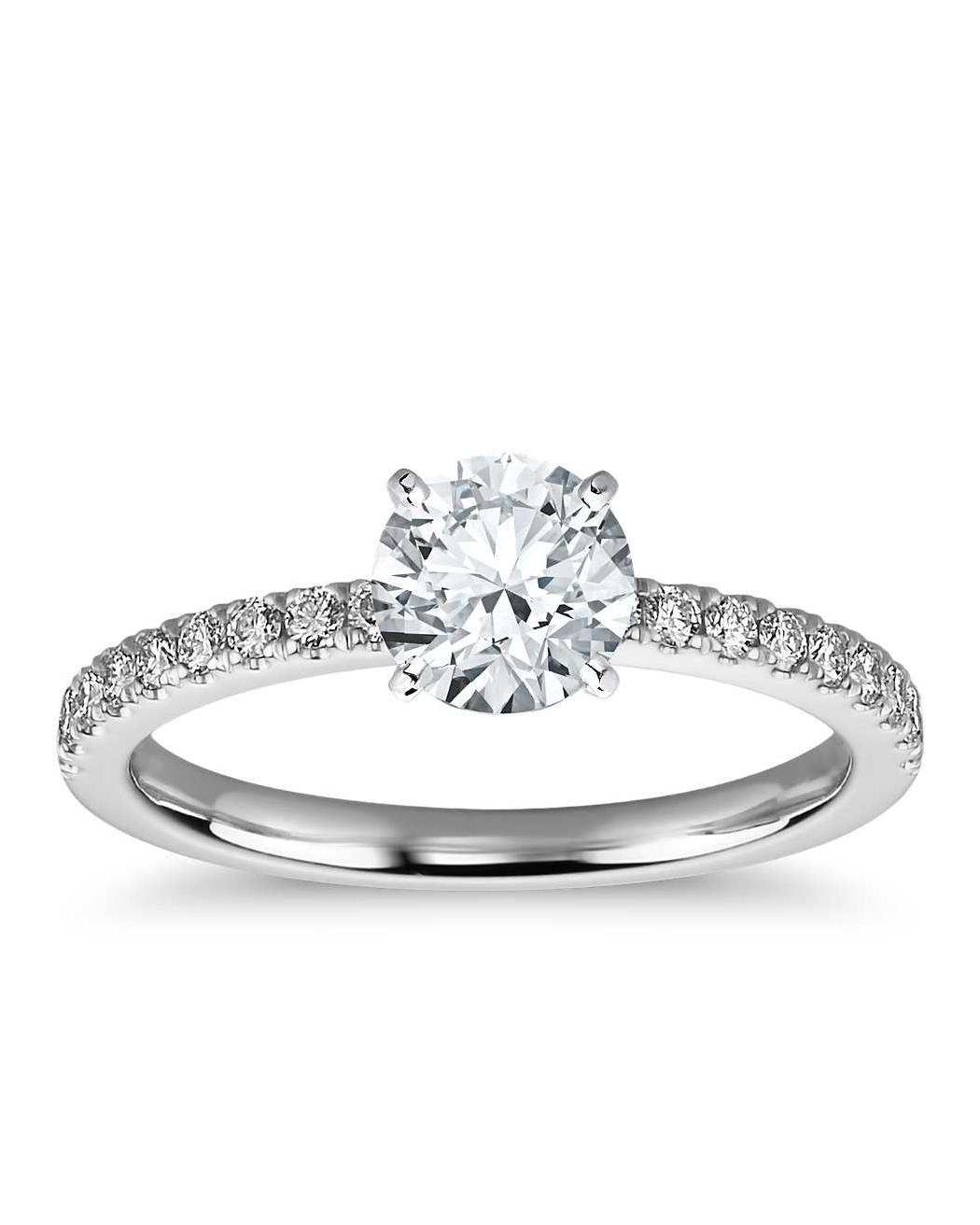 Blue Nile Petite Pave Diamond Engagement Ring