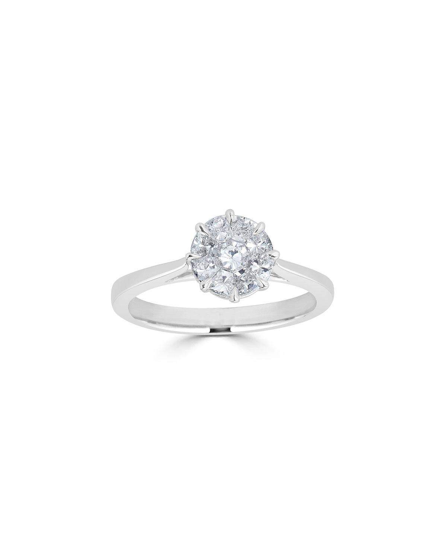 Zydo 18-Karat White Gold Mosaic Round Diamond Ring