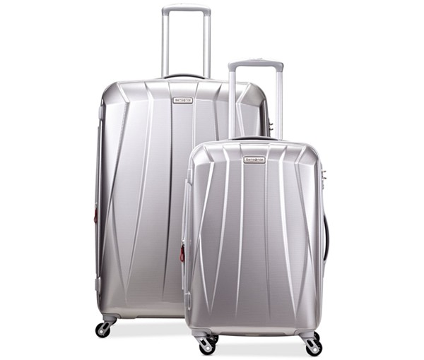 silver luggage