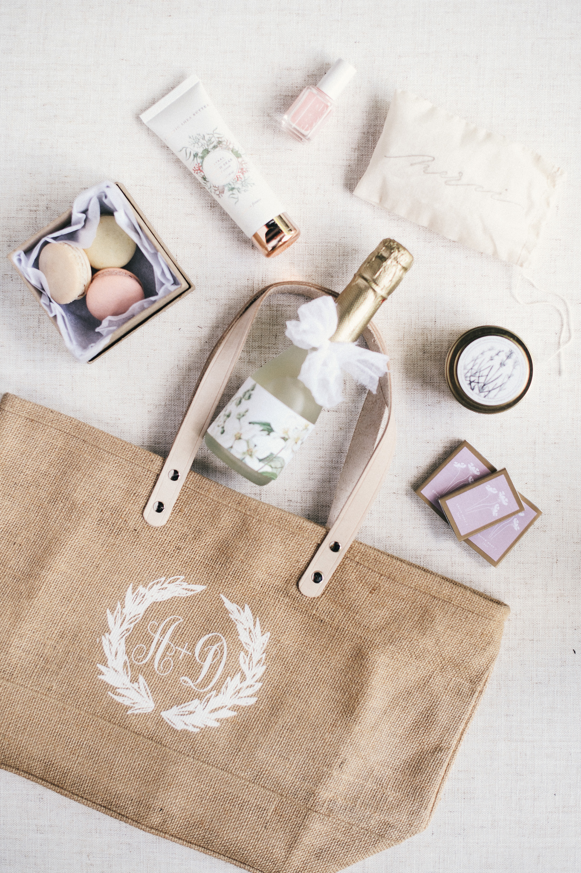 monogrammed tote bag with favors