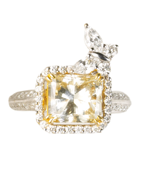 Princess-Cut Yellow Diamond Engagement Ring