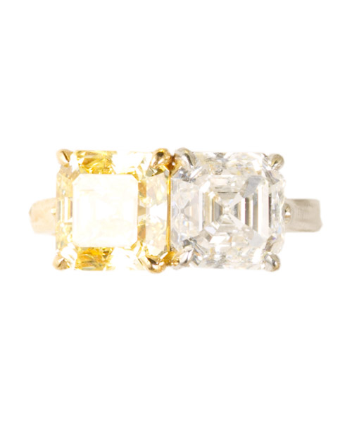 Modern Asscher-Cut Yellow Diamond Engagement Ring