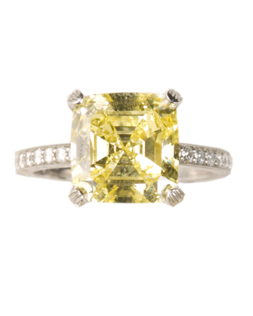 Cushion-Cut Yellow Diamond Engagement Ring