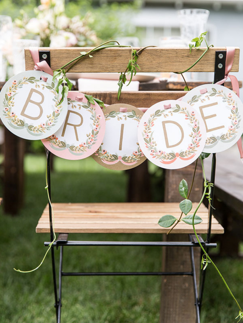 bride banner on chair