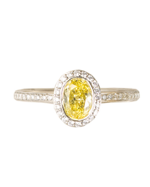 Semimount Yellow Diamond Engagement Ring