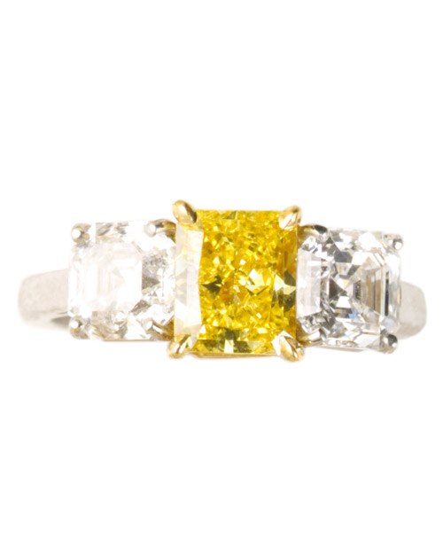 Engagement Ring with White and Yellow Diamonds
