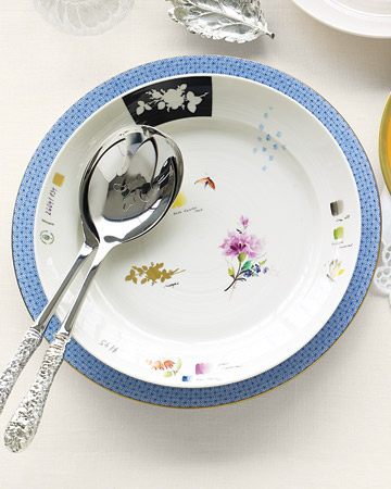 Serving Fork and Spoon and Flower Plate
