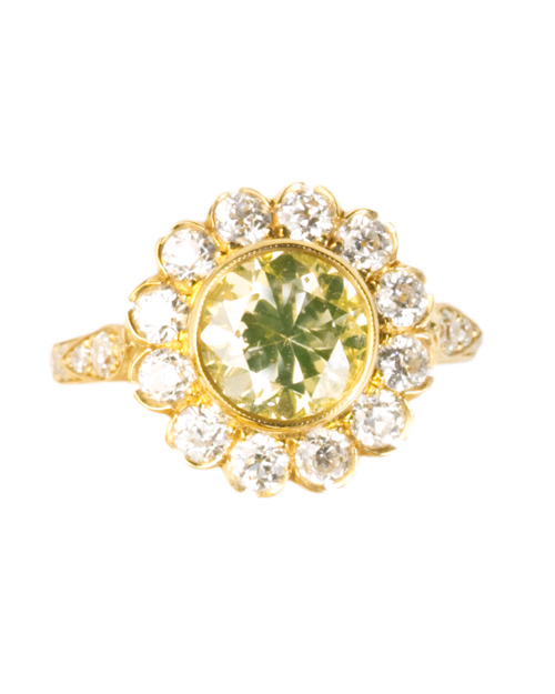 Round-Cut Yellow Diamond Engagement Ring
