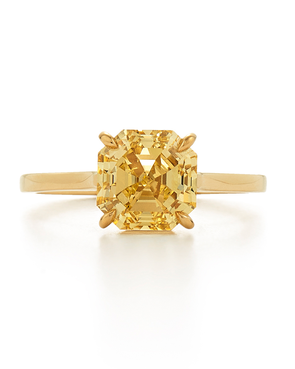 Yellow Gold Asscher-Cut Yellow Diamond Engagement Ring