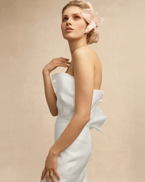 Sculptural Wedding Dress with Flower Hair Accessory