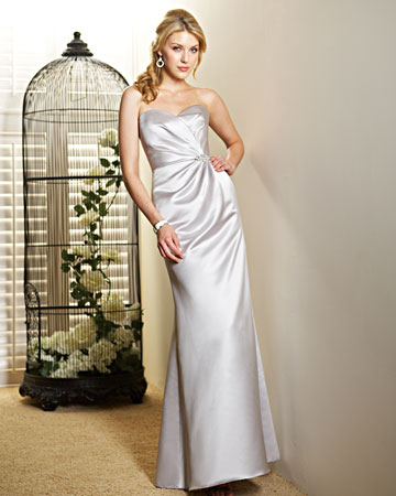 Silver, Strapless Dress
