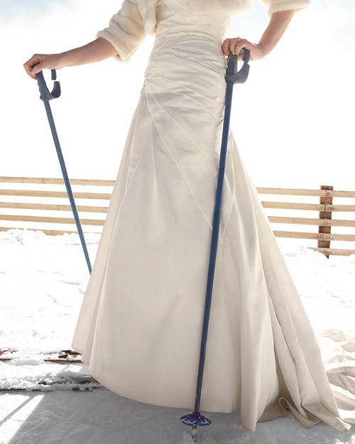 bride on skis